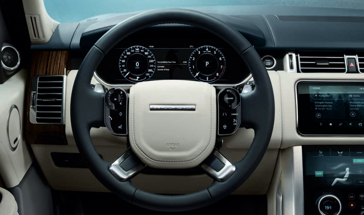 Range Rover bei Auto Stahl Innenansicht Lenkrad