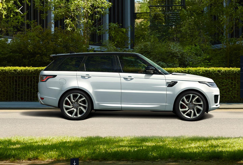 Range Rover Sport bei Auto Stahl Seitenansicht im Wald