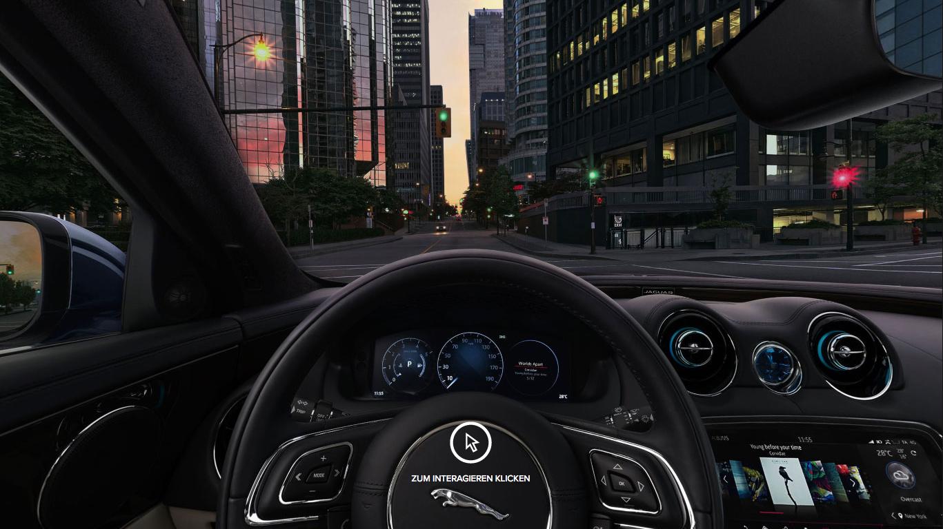 Auto Stahl Jaguar XJ Innenansicht Lenkrad Schwarz City Straße