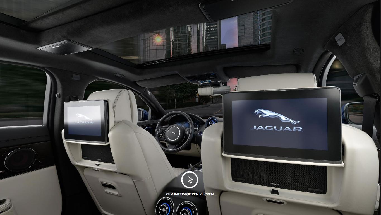 Auto Stahl Jaguar XJ Innenansicht beiges Leder Bildschirme