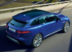Jaguar F-PACE Auto Stahl Seitenansicht Heck Blau Straße