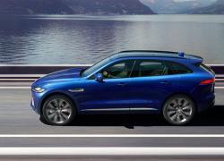 Jaguar F-PACE Auto Stahl Seitenansicht Blau Straße Landschaft Berge