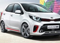 Kia Picanto bei Auto Stahl Frontansicht Seitenansicht Weiß Rot
