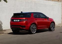 Auto Stahl der neue Discovery Sport 2019 Seitenansicht Heckansicht Rot Straße