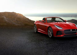 Jaguar F-Type SVR Cabriolet Rot Frontansicht Sonnenuntergang bei Auto Stahl