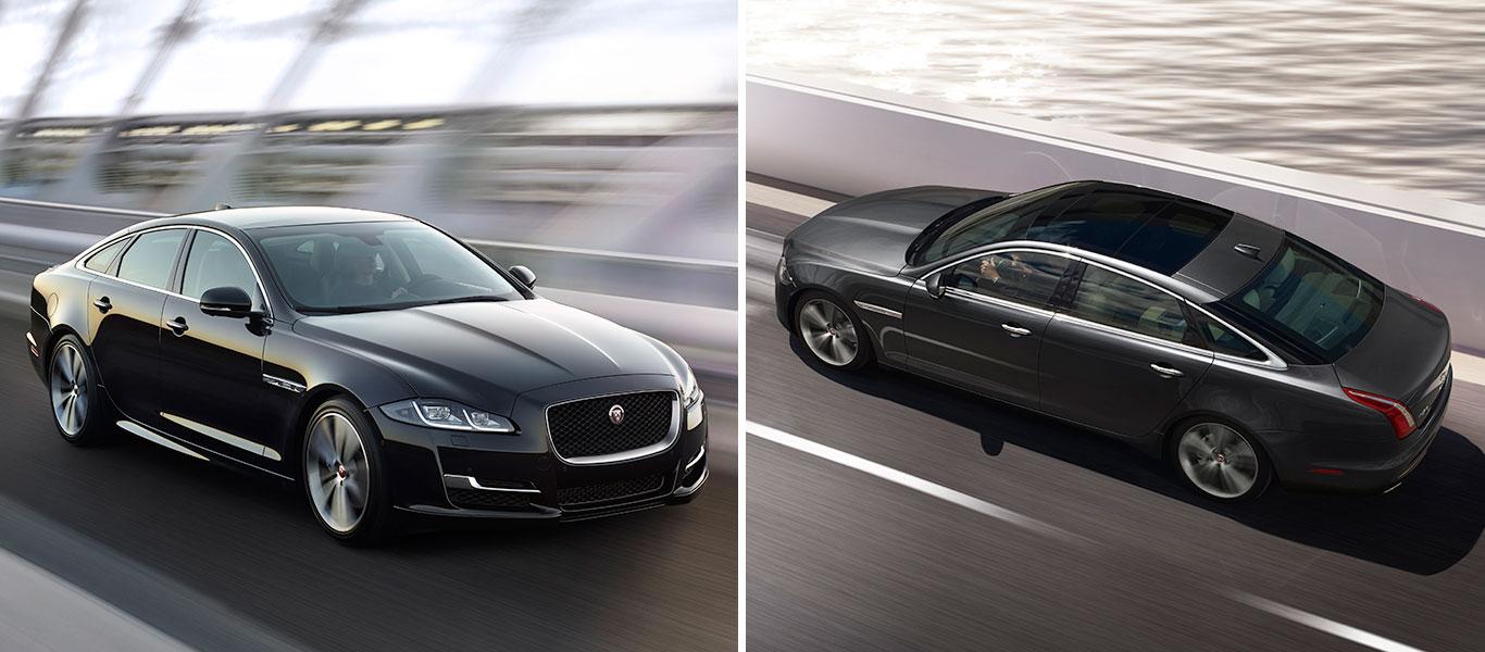 Jaguar XJ Seitenansicht Straße Fahrt Panoramadach Front