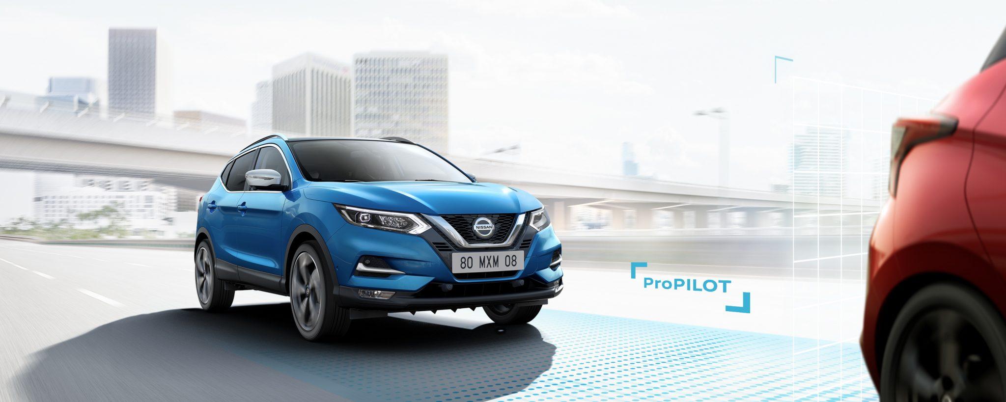 Nissan Qashqai 2017 N-Drive ProPilot Frontansicht Blau City