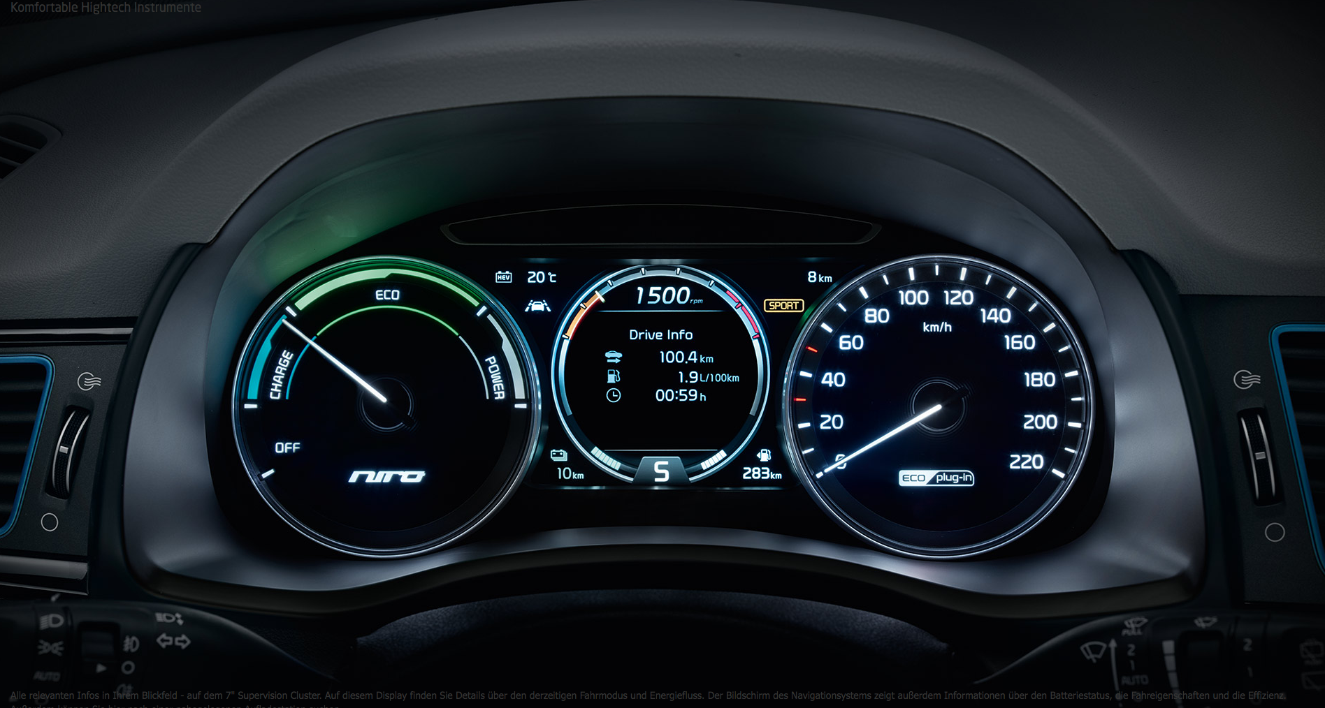 Kia Niro Plug-in Hybrid bei Auto Stahl Tachoansicht