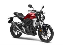 HONDA BIKE CB300R 2018 bei Auto Stahl Seitenansicht Schwarz Rot Motorrad