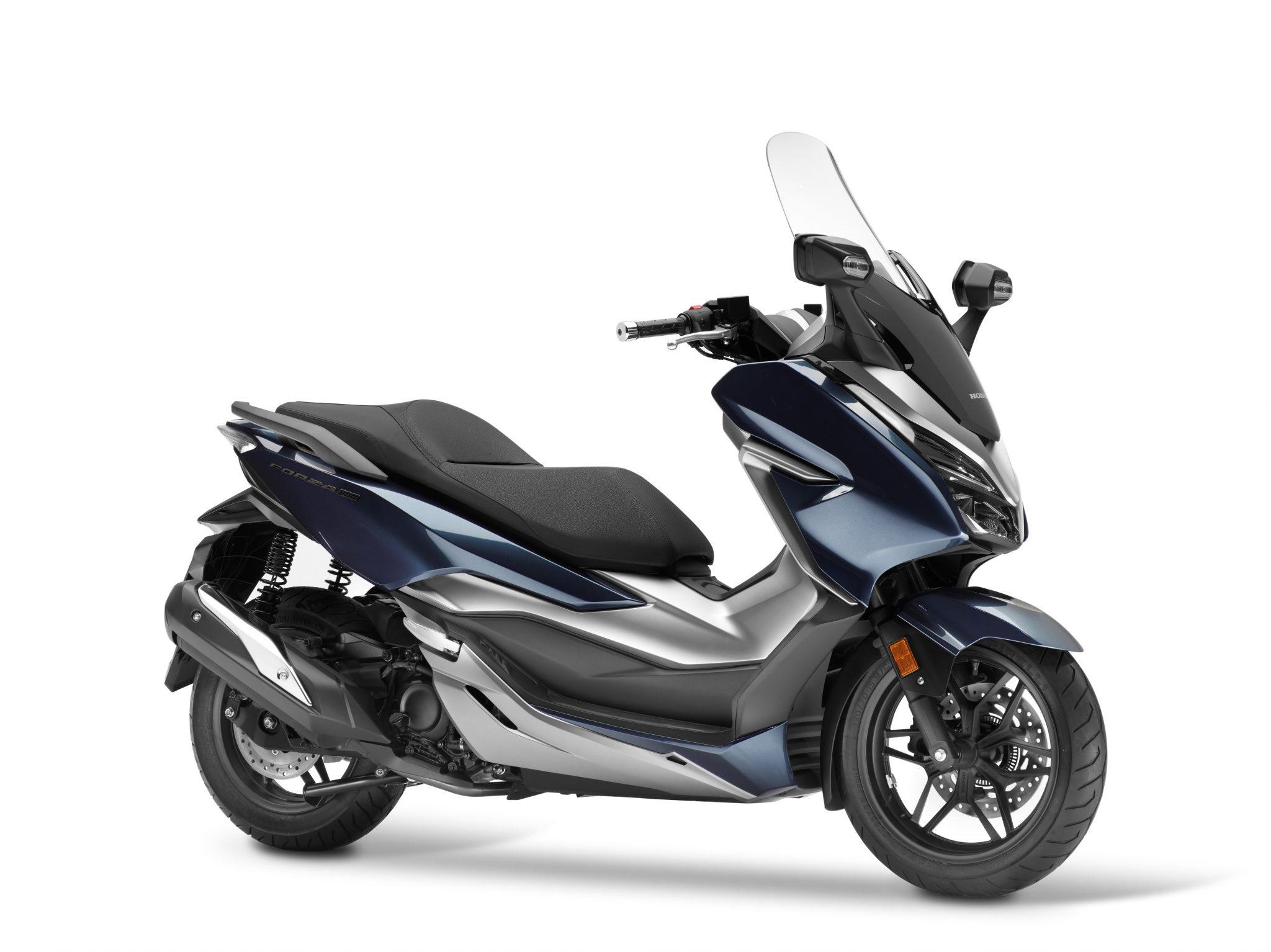 Honda Forza 300bei Auto Stahl Seitenansicht Blau Schwarz Silber