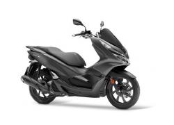 Honda PCX bei Auto Stahl Seitenansicht Grau Schwarz
