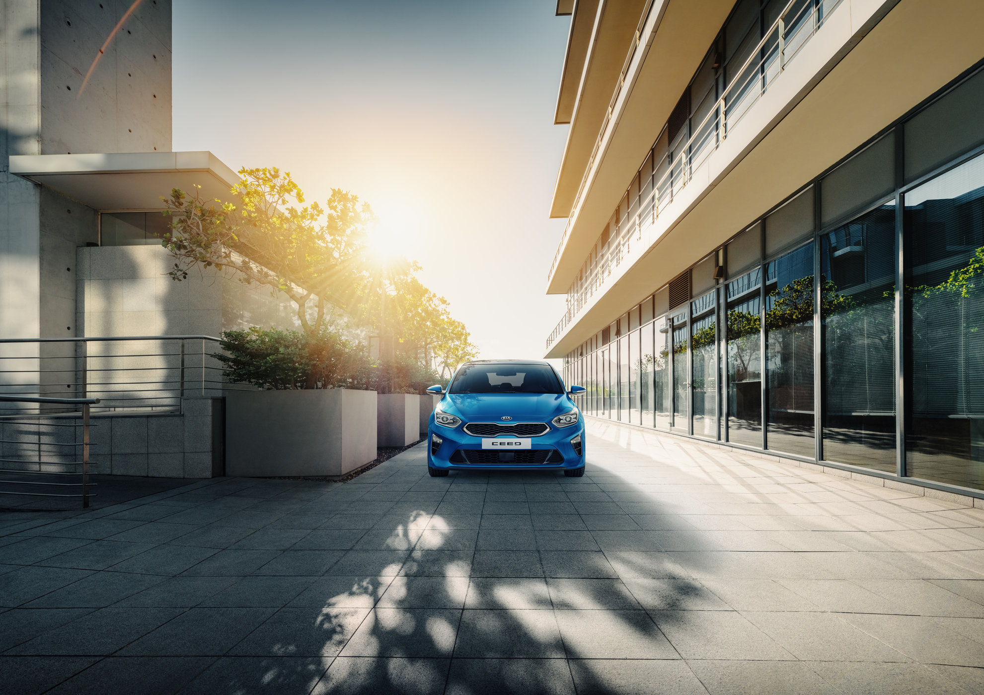 Kia Cee´d 2018 bei Auto Stahl Detail Frontansicht Blau City