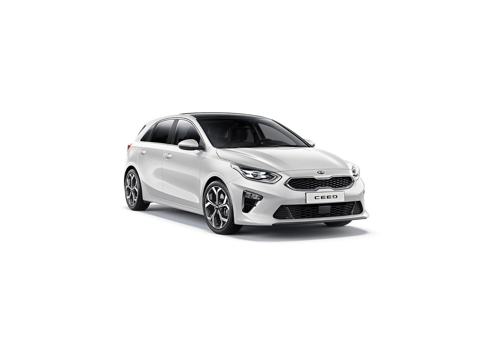 Kia Cee´d 2018 bei Auto Stahl Detail Seitenansicht Frontansicht Weiß