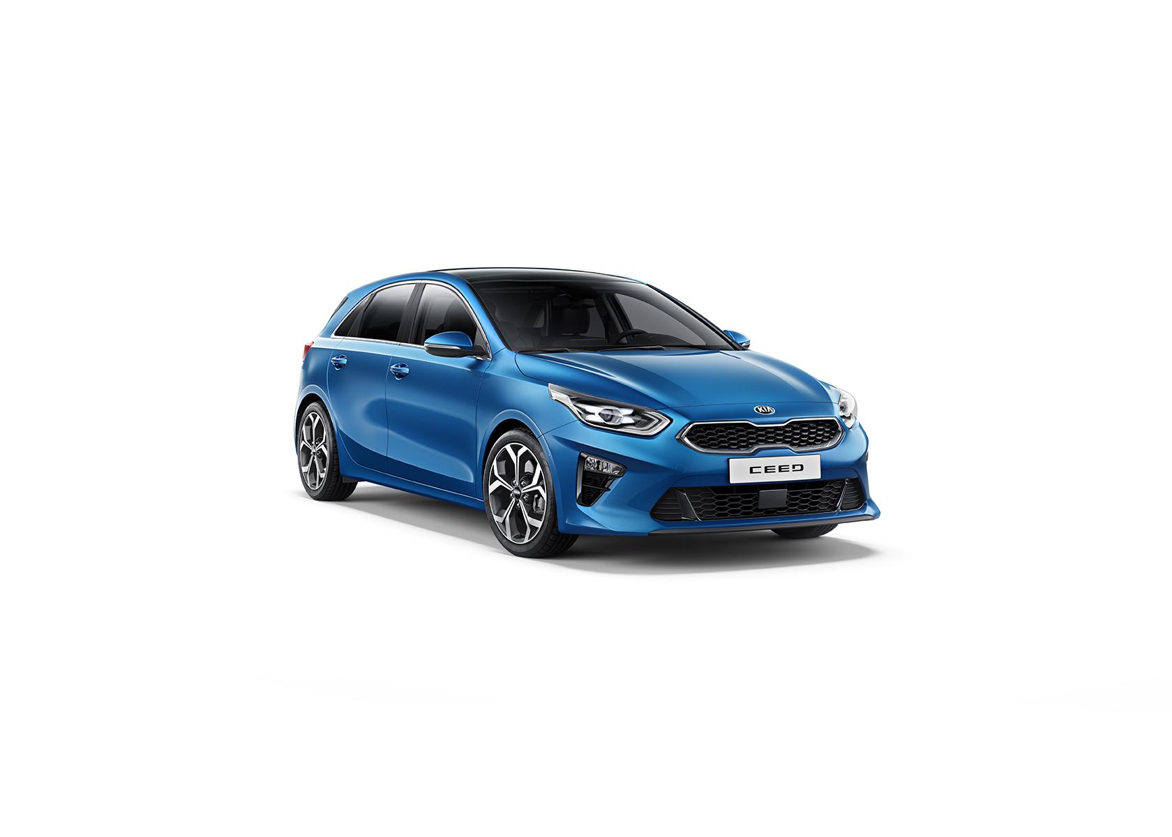 Kia Cee´d 2018 bei Auto Stahl Detail Seitenansicht Frontansicht Blau