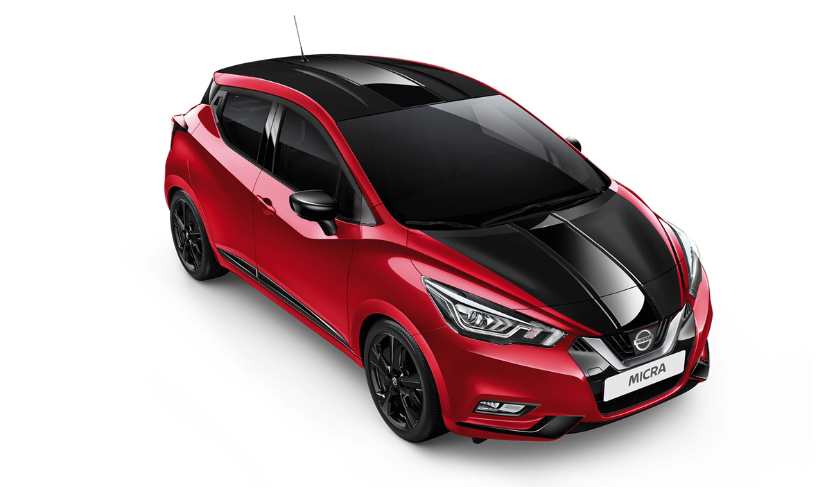 Nissan Micra Seitenansicht Frontansicht Rot Schwarz