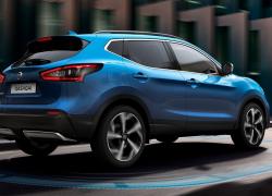 Nissan Qashqai 2017 Seitenansicht Heck Blau