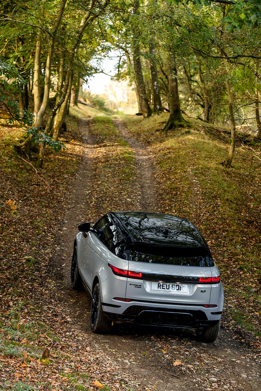 Range Rover Evoque 2019 Wald Outdoor Heckansicht Bergauf