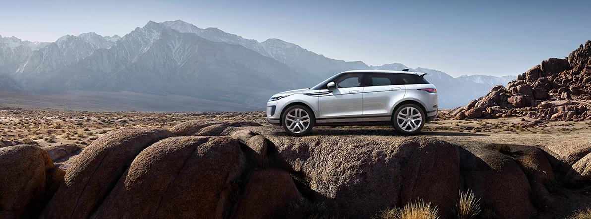 Range Rover Evoque 2019 Seitenansicht Weiß Auto Berge Outdoor