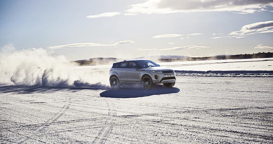 Range Rover Evoque 2019 Schnee Eis Winter Weiß Auto Seitenansicht