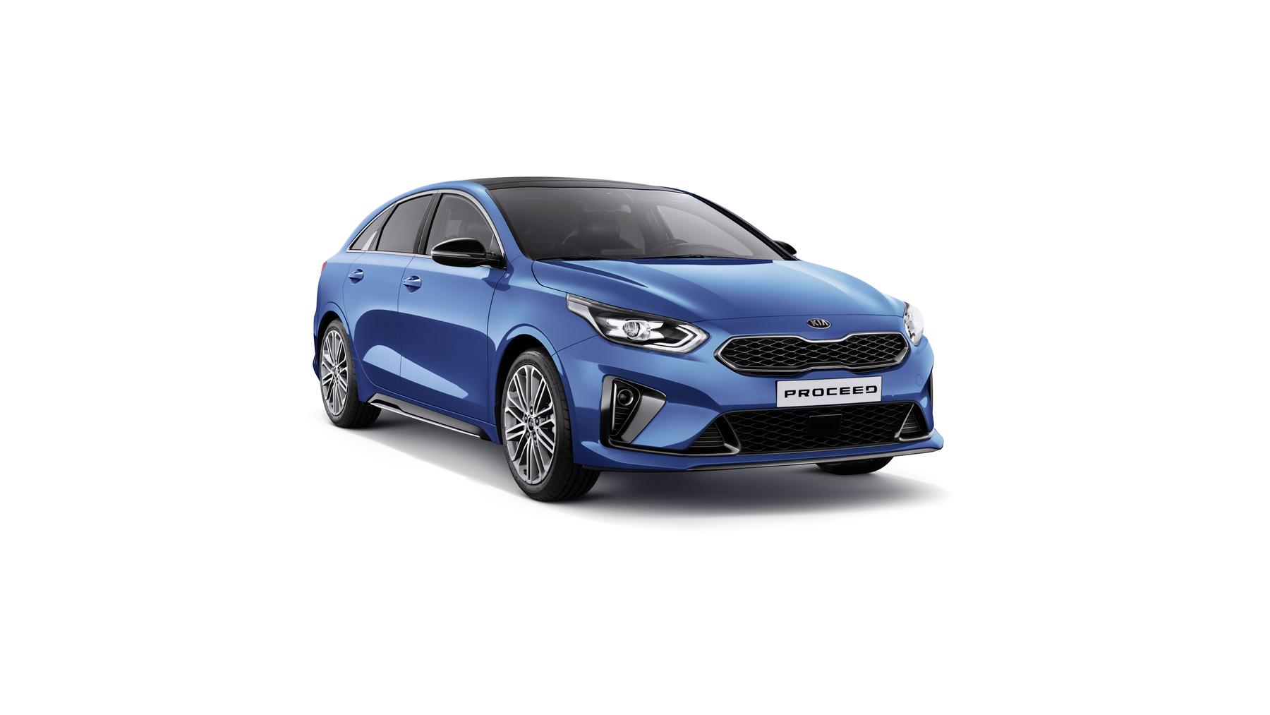 Kia Proceed GT - Line bei Auto Stahl Auto Blau Seitenansicht