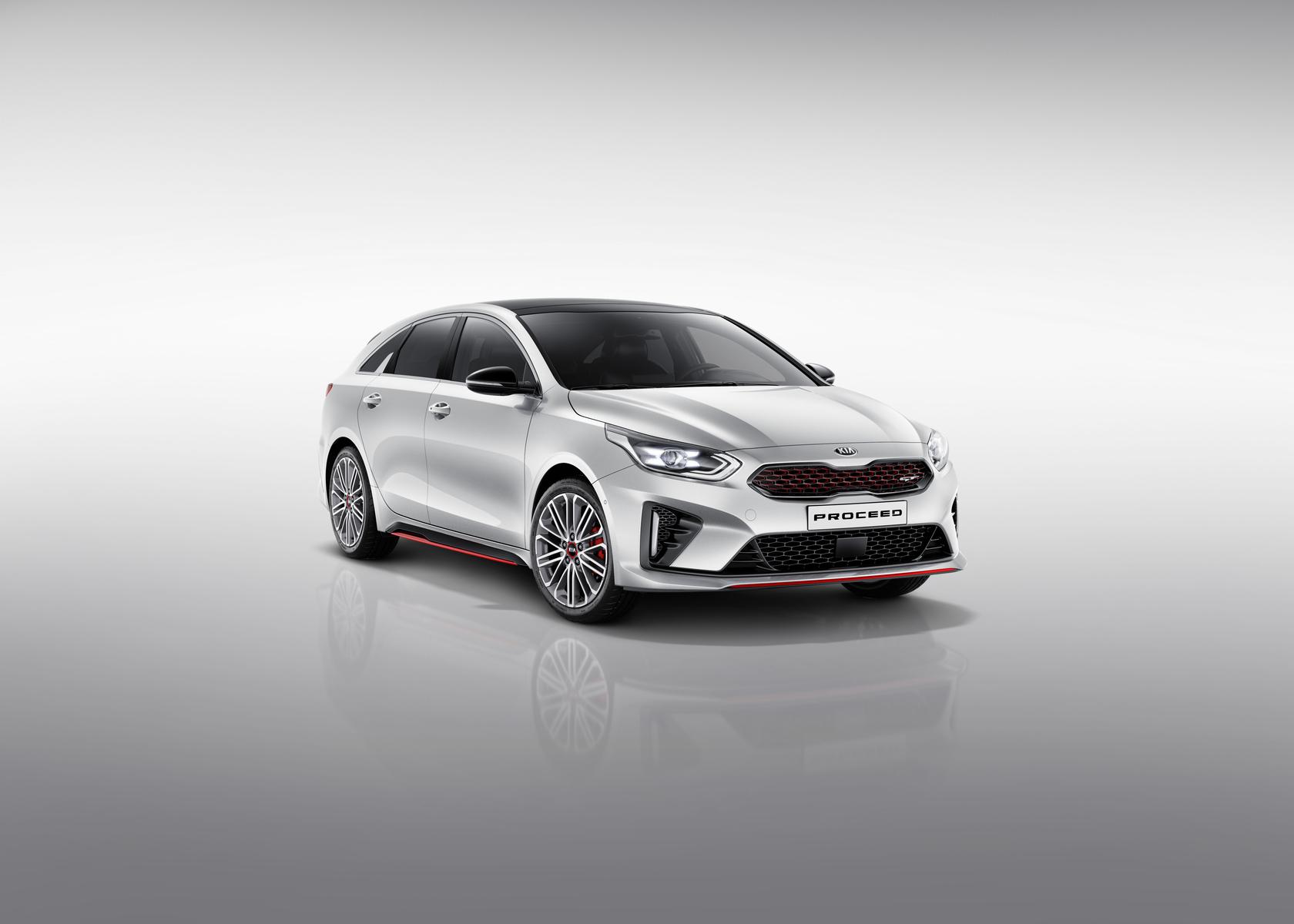Kia Proceed GT bei Auto Stahl Auto Weiß Rot Front Seitenansicht