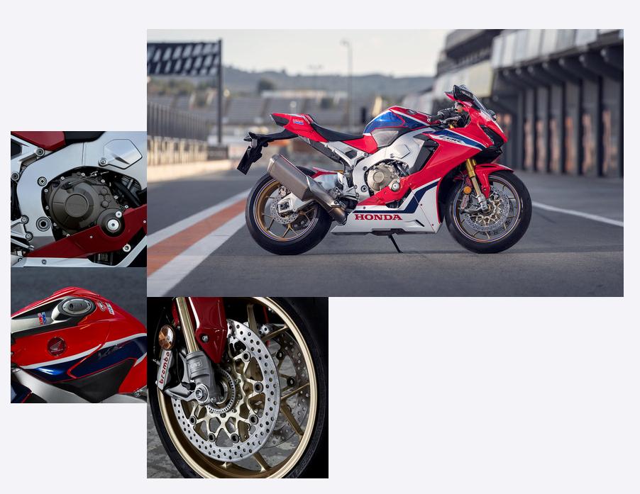 Honda Fireblade SP bei Auto Stahl Collage Rennstrecke Straße Seitenansicht Detailfoto Rot Weiß Blau