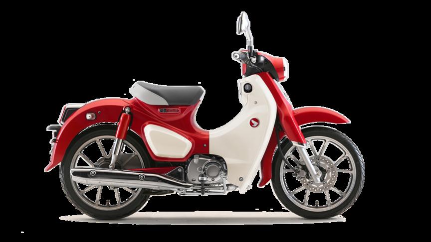 Honda Super Cub 2019 bei Auto Stahl Rot Weiß Roller Seitenansicht Bike Retro-Bike