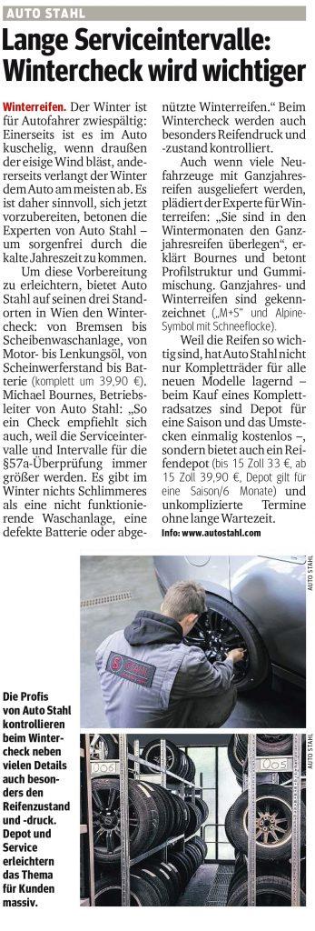 Presseartikel, Auto Stahl Artikel Kurier am 04.10.2018, Lange Serviceintervalle: Wintercheck wird wichtiger