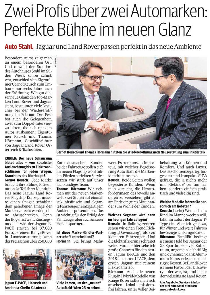Presseartikel, Auto Stahl Artikel Kurier am 08.3.2018, Zwei Profis über zwei Automarken: Perfekte Bühne im neuen Glanz