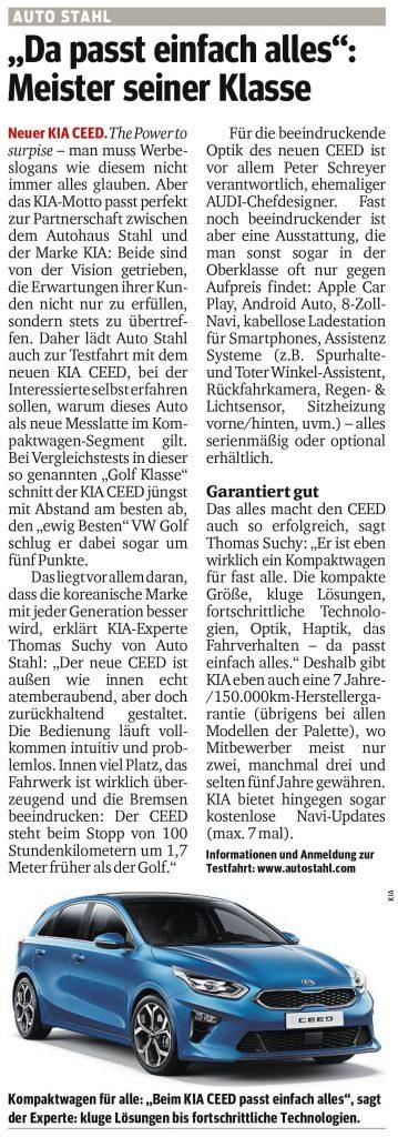 Presseartikel, Auto Stahl Artikel Kurier am 09.9.2018, Da passt einfach alles – Meister seiner Klasse