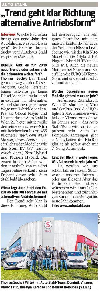 Presseartikel, Auto Stahl Artikel Kurier am 13.12.2018, Trend geht klar Richtung alternative Antriebsform