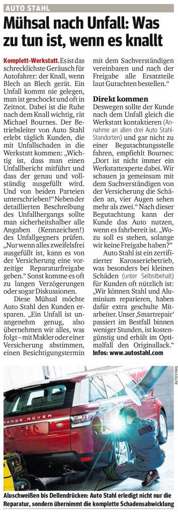 Presseartikel, Auto Stahl Artikel Kurier am 15.11.2018, Mühsal nach Unfall: Was zu tun ist, wenn es knallt.