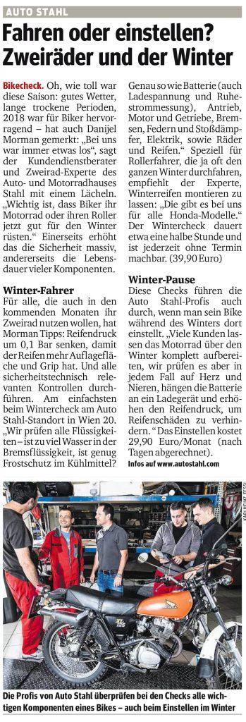 Presseartikel, Auto Stahl Artikel Kurier am 25.10.2018, Fahren oder einstellen? Zweiräder und der Winter