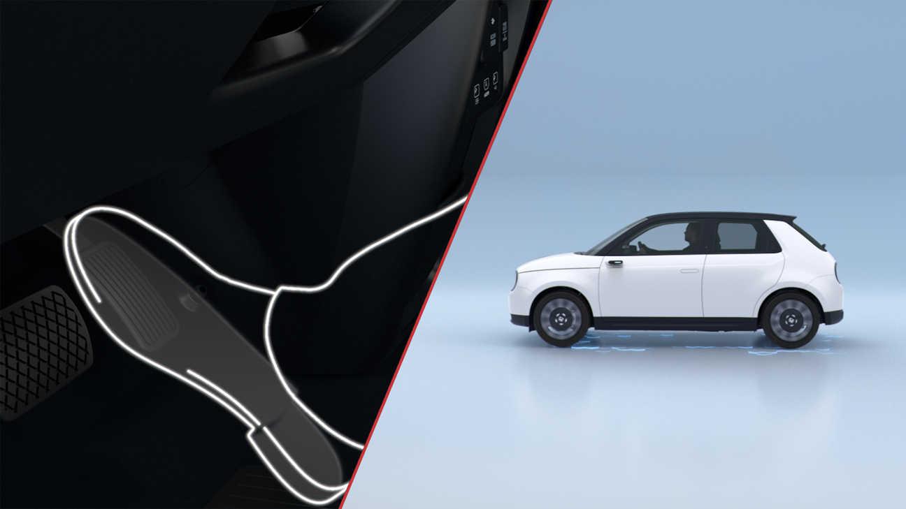 Der Honda e bei Auto Stahl ist Honda´s erstes vollelektrisches Fahrzeug, hier eine technische Zeichnung