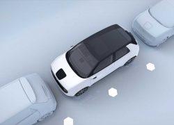 Der Honda e bei Auto Stahl ist Honda´s erstes vollelektrisches Fahrzeug, hier aus der Vogelperspektive betrachtet