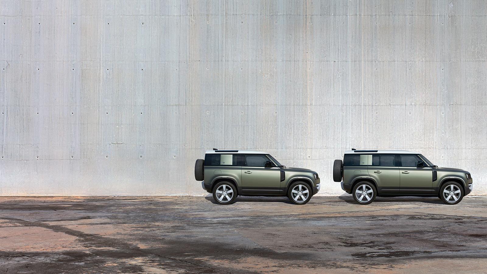 Land Rover Defender 110 und Defender 90 bei Auto Stahl Modellbild