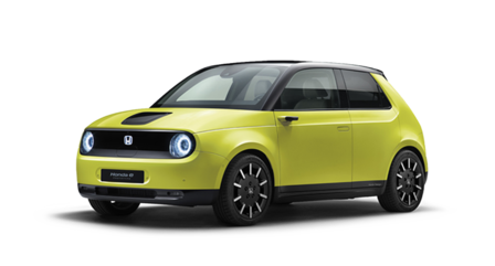 Der Honda e bei Auto Stahl ist Honda´s erstes vollelektrisches Fahrzeug, hier in der Seitenansicht