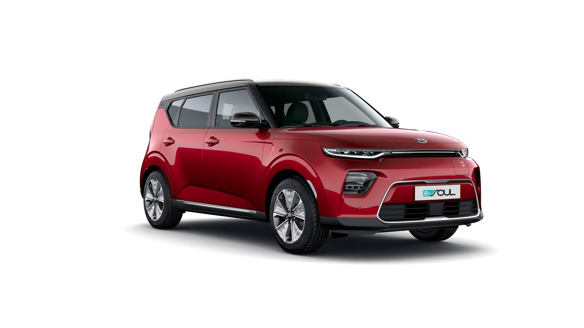 Kia e-Soul Seitenansicht Rot Elektro Auto Stahl
