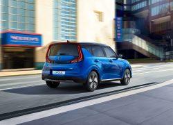 Kia e-Soul Seitenansicht Blau Auto Stahl elektro City