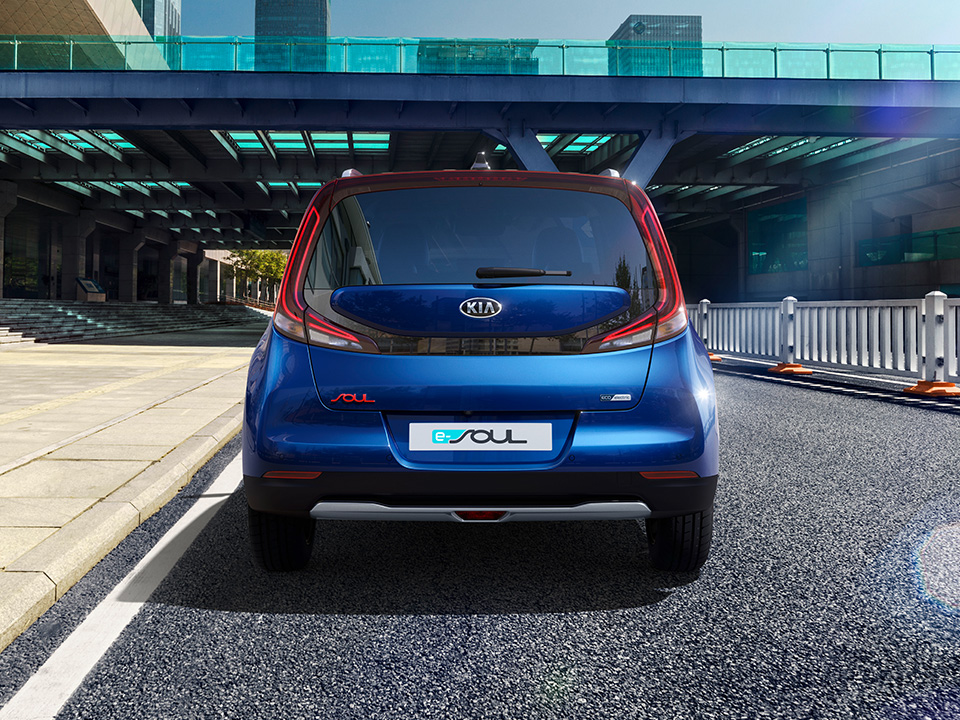 Kia e-Soul Auto Stahl Heckansicht Blau Elektro