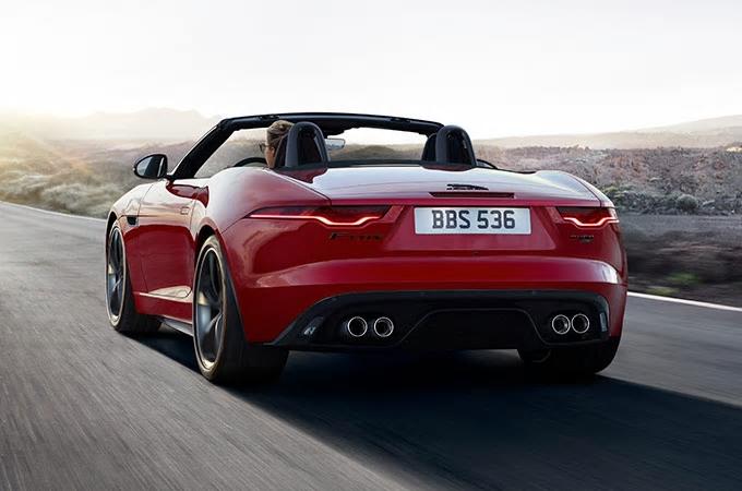Der neue Jaguar F-Type Hecksicht Landschaft AUTO STAHL