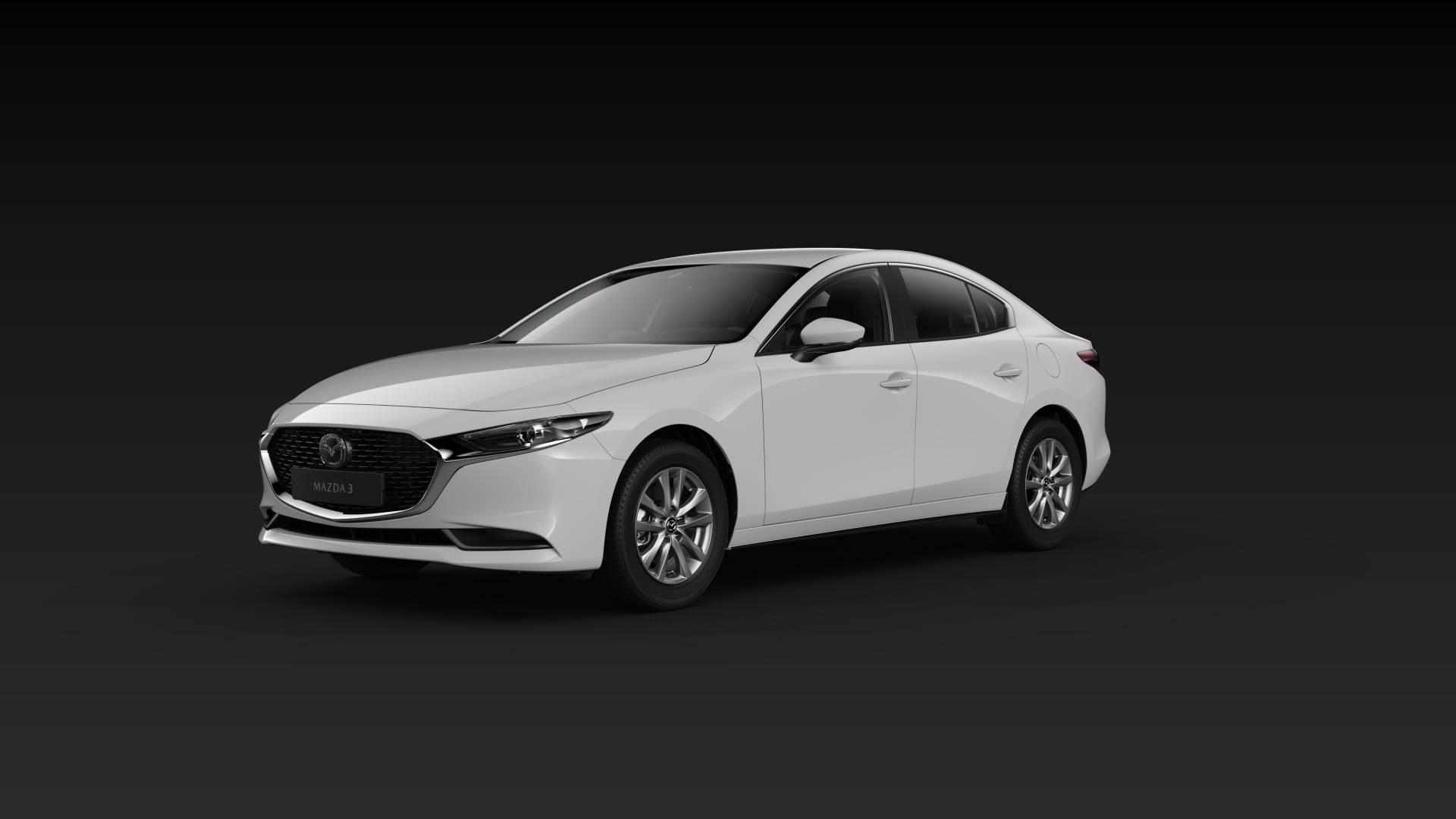 Mazda3 Sedan schräge Heckansicht Modellfarbe weiß