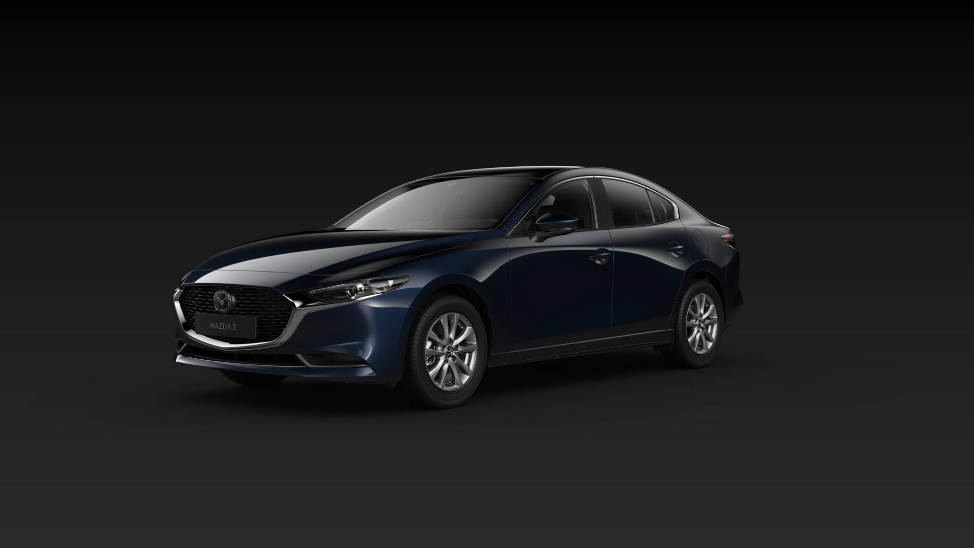 Mazda3 Sedan schräge Heckansicht Modellfarbe blau