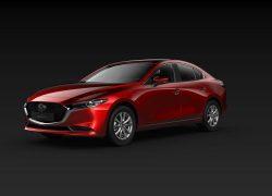 Mazda3 Sedan schräge Heckansicht Modellfarbe rot