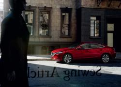 Mazda6 bei Auto Stahl Modellabbildung Seitenansicht durch Glasscheibe, Modellfarbe rot