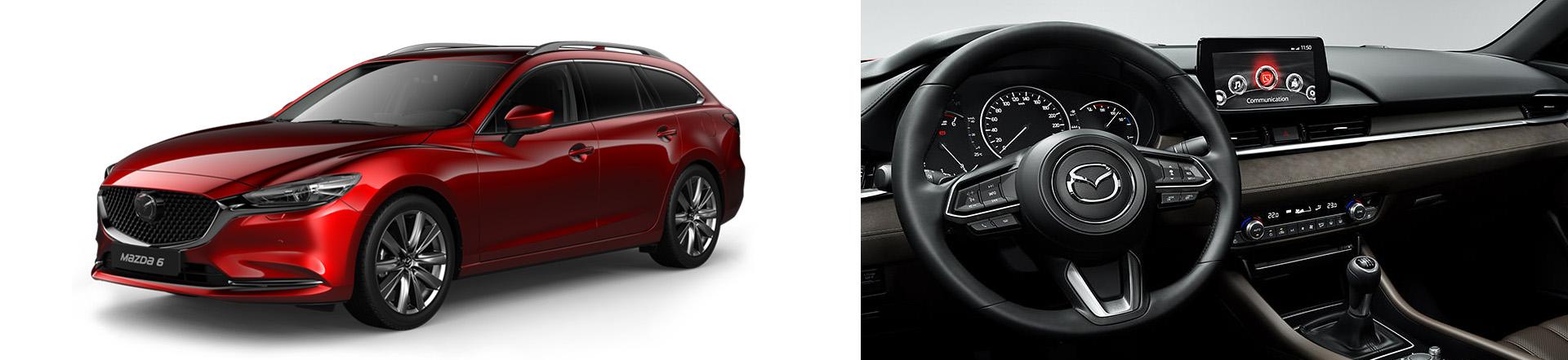 Mazda6 Sport Combi Modellabbildungen, Modellfarbe rot und Innenansicht