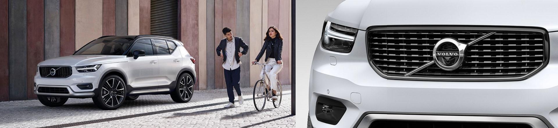 Volvo XC40, urbane Umgebung mit jungen Menschen, Modellfarbe weiß