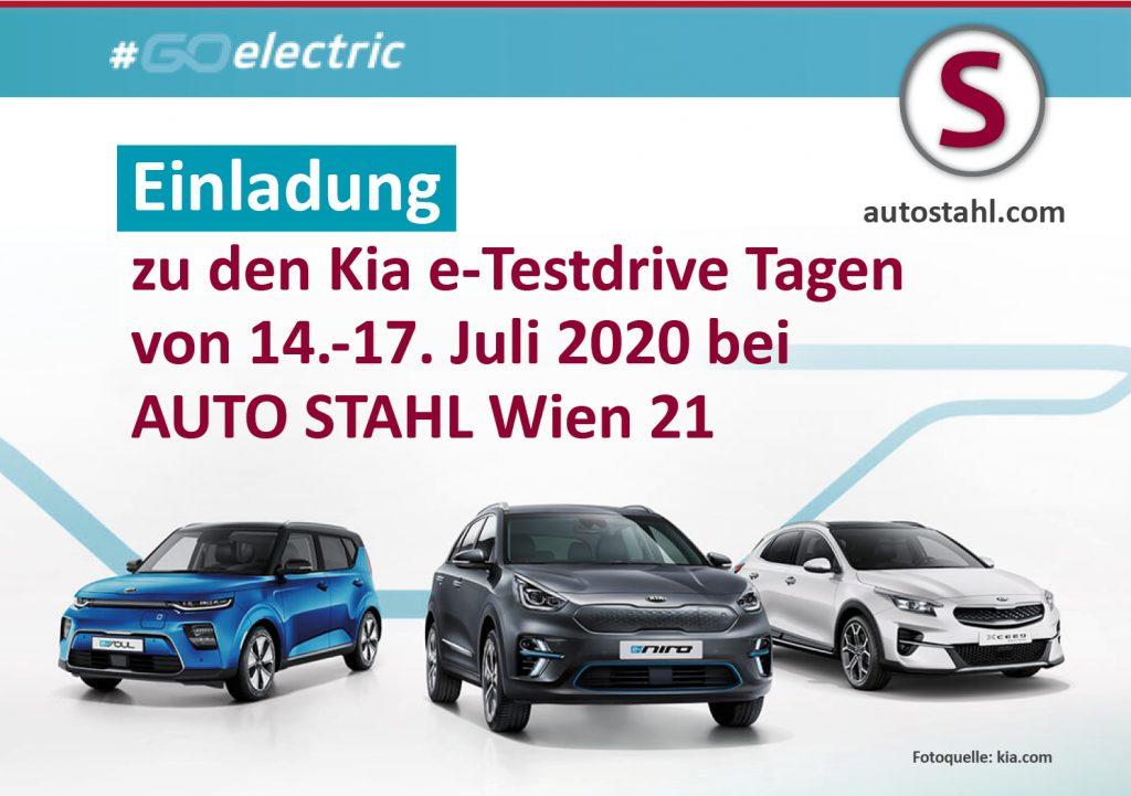 Kia e-testdrive tage bei AUTO STAHL WIen 21 vom 14. bis 17. Juli 2020