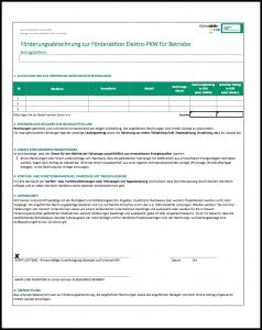 E-Mobility Formular zur Förderungsabrechnung für Betriebe