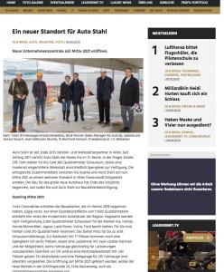 Auto Stahl Presseartikel – Leadersnet 30.03.2020, Neuer Standirt für AUTO STAHL. Vorstellung des neuen Bauvorhabens in der Schillingstraße 4, 1220 Wien